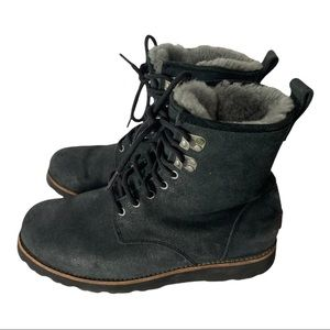 UGG Hannen Black Suede Shearling Winter Boots 9